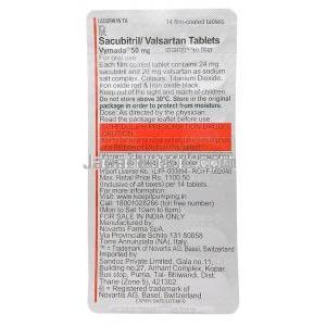 Vymada 50mg  Sacubitril And Valsartan Tablet  Blister Pack Back